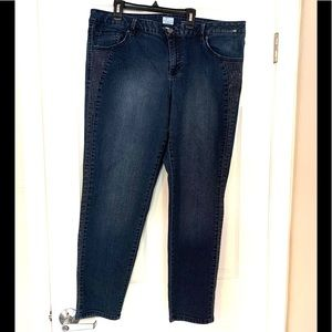 S&Co Mid Rise Skinny Embellished Jeans Blue Silver